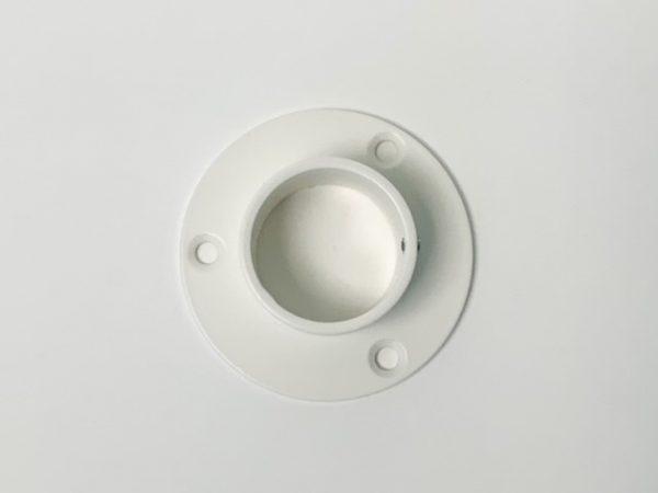 Buissteun muurrozet RAL 9010 wit bovenaanzicht