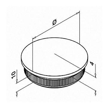 Inslagdop / eindkap massief afgeronde buis RVS tekening
