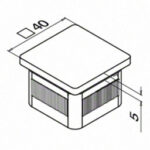 Eindkap voor koker 40x40 RVS 304 easy hit tekening detail