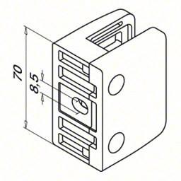 Glasklem model 24 vlak RVS 304 tekening