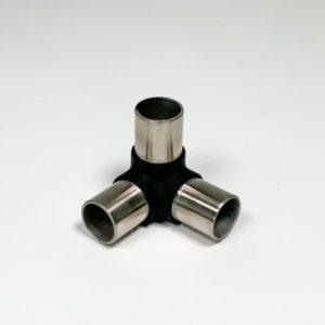 Hoekverbinder RVS zwart voor 3 buizen 33.7