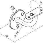 Trapleuninghouder RVS 304 voor buis Ø33.7 tekening