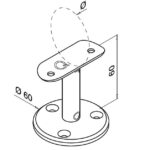 Trapleuninghouder staand model voor buis Ø42.4 mm tekening