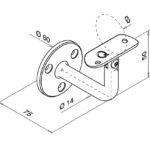 Trapleuninghouder voor buis Ø42.4 tekening detail