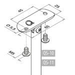 Trapleuninghouder RVS 304 voor buis Ø42.4 variabel tekening