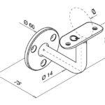 Trapleuninghouder voor buis tekening detail
