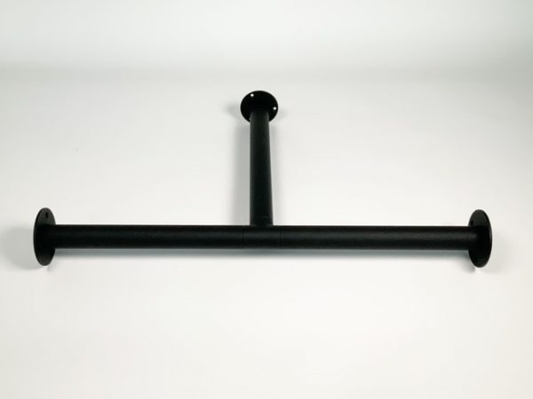 Garderobestang RVS zwart met T-koppeling en buissteun 30 cm