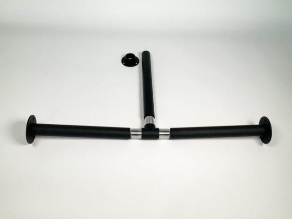 Garderobestang RVS zwart met T-koppeling en buissteunen 30 cm los